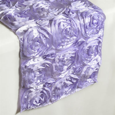 "14""x108"" Grandiose Rosette Satin Runner For Table Top Wedding Catering Party Event Decorations - Lavender"
