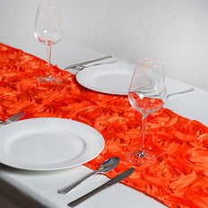 "14""x108"" Grandiose Rosette Satin Runner For Table Top Wedding Catering Party Event Decorations - Orange"
