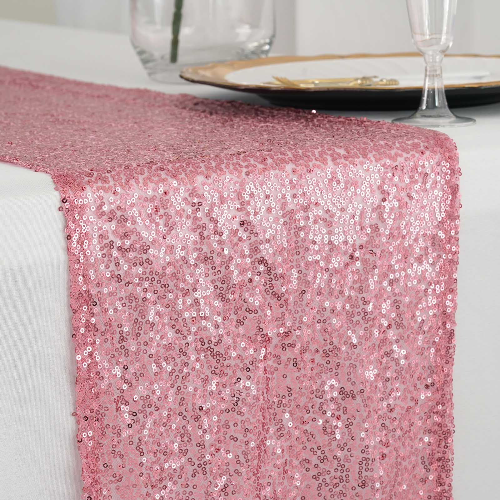 Pink Premium Sequin Table Runners - Table Top Wedding Catering Party ...