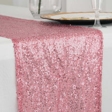 "12""x108"" Pink Premium Sequin Table Runners"