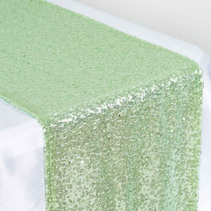 Tea Green Premium Sequin Table Runners - Table Top Wedding Catering Party Decorations - 108x12""