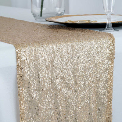 Champagne Premium Sequin Table Runners - Table Top Wedding Catering Party Decorations - 108x12""