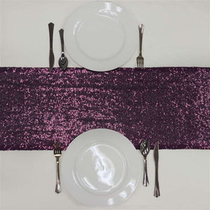 Eggplant Premium Sequin Table Runners - Table Top Wedding Catering Party Decorations - 108x12""