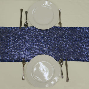 Navy Blue Premium Sequin Table Runners - Table Top Wedding Catering Party Decorations - 108x12""