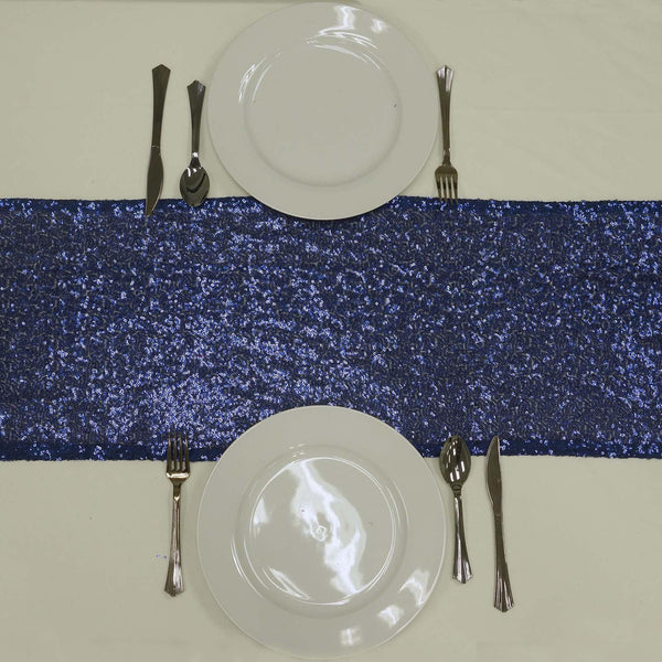 "12""x108"" Navy Blue Premium Sequin Table Runners"