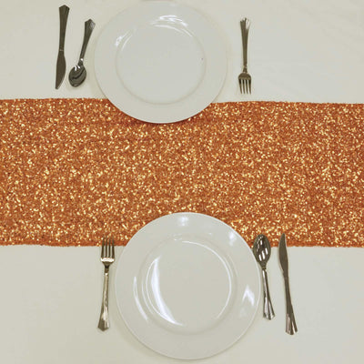 Orange Premium Sequin Table Runners - Table Top Wedding Catering Party Decorations - 108x12""