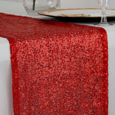"12""x108"" Red Premium Sequin Table Runners"
