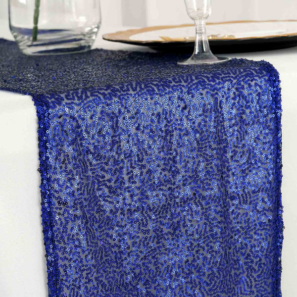 "12""x108"" Royal Blue Premium Sequin Table Runners"