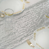 "12""x108"" Silver Premium Sequin Table Runners"