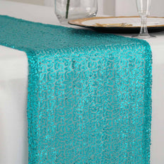 "12""x108"" Turquoise Premium Sequin Table Runners"