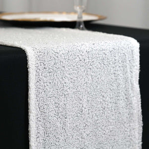 "12""x108"" White Iridescent Premium Sequin Table Runners"