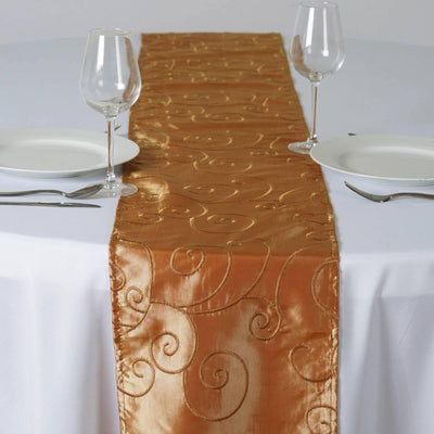 "12""x108"" Taffeta Wholesale Table Runner With Satin Embroidery For Table Top Wedding Party Event - GOLD"