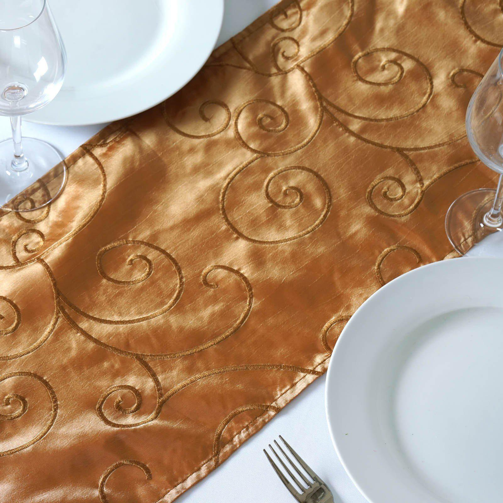 12 Quot X108 Quot Gold Taffeta With Satin Embroidery Table Runner