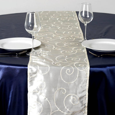 "12""x108"" Taffeta Wholesale Table Runner With Satin Embroidery For Table Top Wedding Party Event - IVORY"
