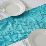 "12""x108"" Taffeta Wholesale Table Runner With Satin Embroidery For Table Top Wedding Party Event - TURQUOISE"