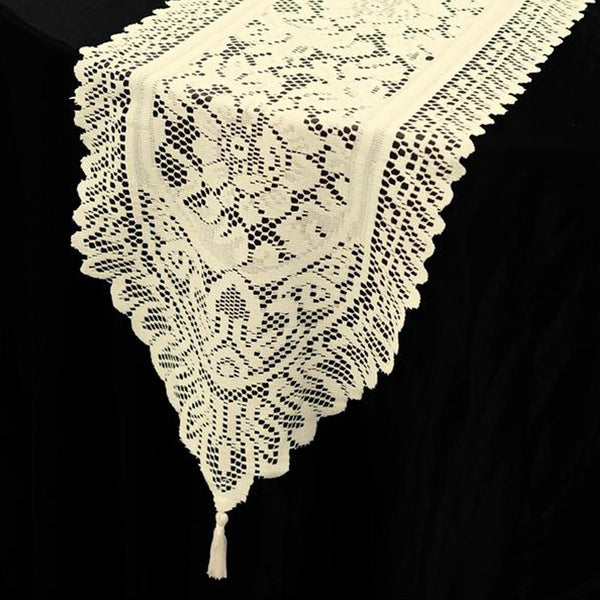 "14"" x 108"" Ivory Polyester Lace Table Runner"
