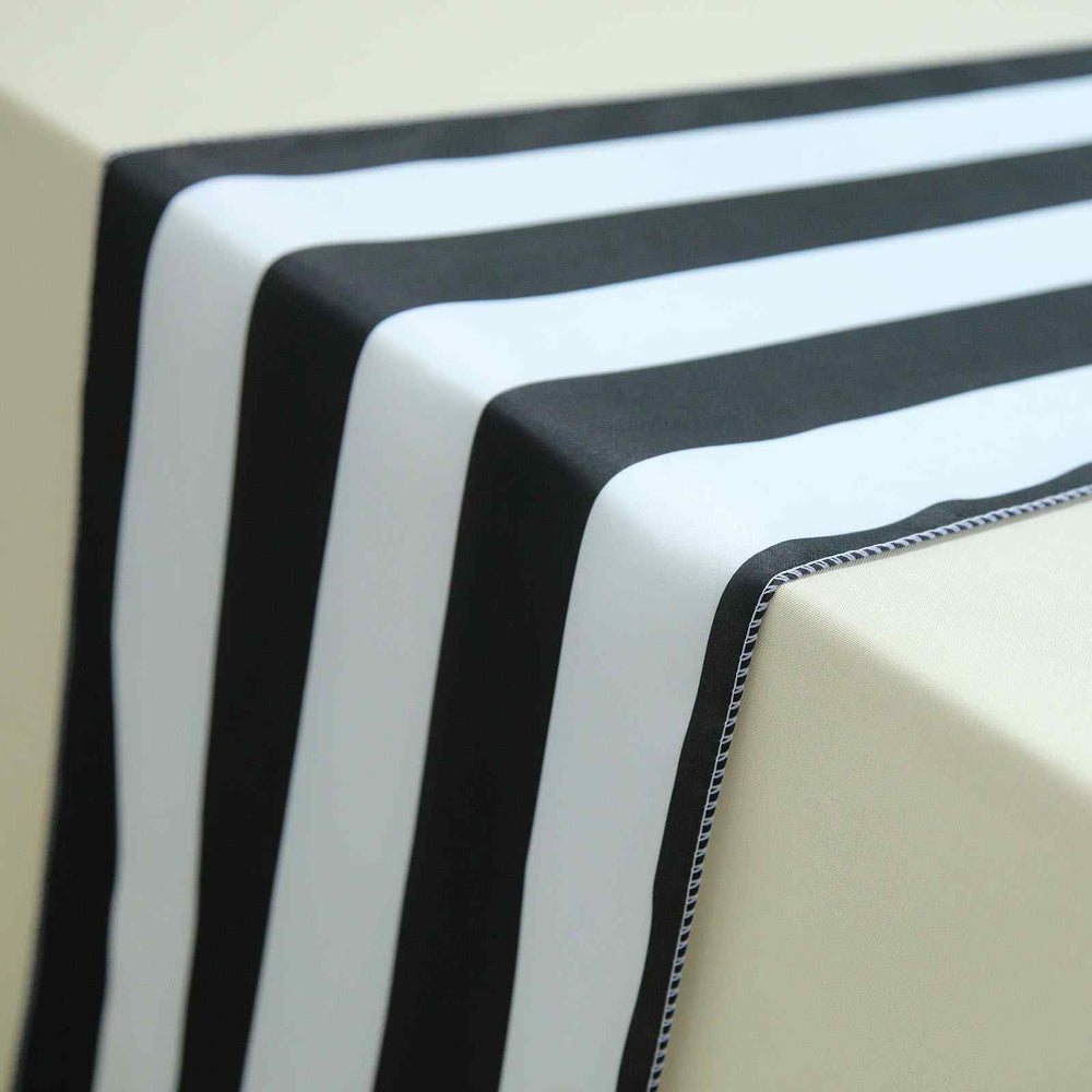 12 Quot X 108 Quot Black Amp White Stripe Satin Table Runners