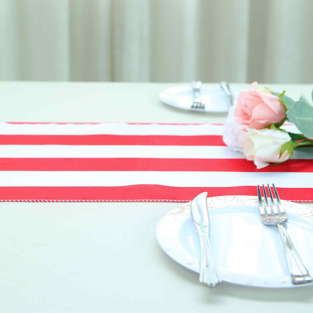 Red/white striped table runner