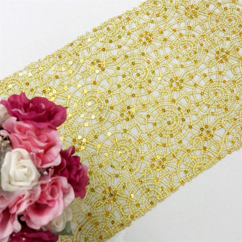 Gold Sequin Studded Chemical Lace Table Runner