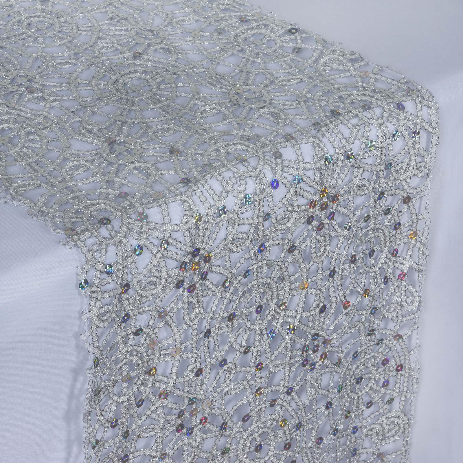 Charmant ... Sequin Studded Lace Table Runners   Silver ...