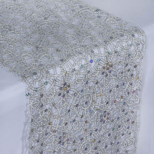 Sequin Studded Lace Table Runners - Silver