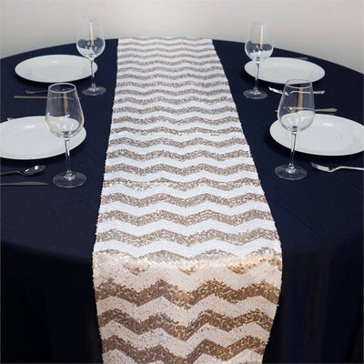 "14"" x 108"" Champange/White Chevron Dual Tone Sequin Table Runners"