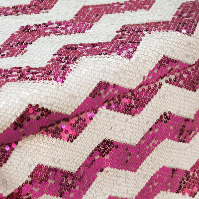 Fushia / White Sequin Chevron Table Runners - Table Top Wedding Catering Party Decorations - 108x14""