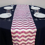 "14"" x 108"" Fushia/White Chevron Dual Tone Sequin Table Runners"