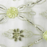 Tea Green Sequin Studded Lace Runner - Table Top Wedding Catering Party Decorations - 108x14""