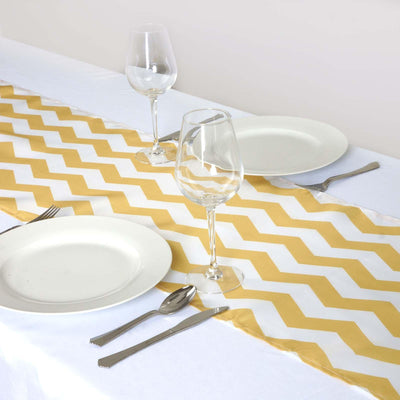 Champagne/White Chevron Satin Table Runner
