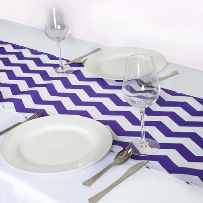 Purple/White Chevron Satin Table Runner