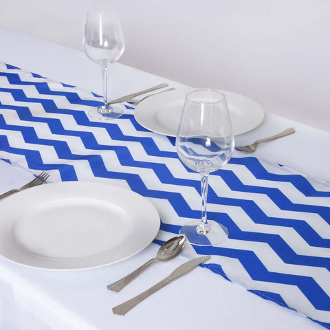 Wholesale Royal Blue/White Chevron Satin Table Runner For Wedding Party  Table Decoration