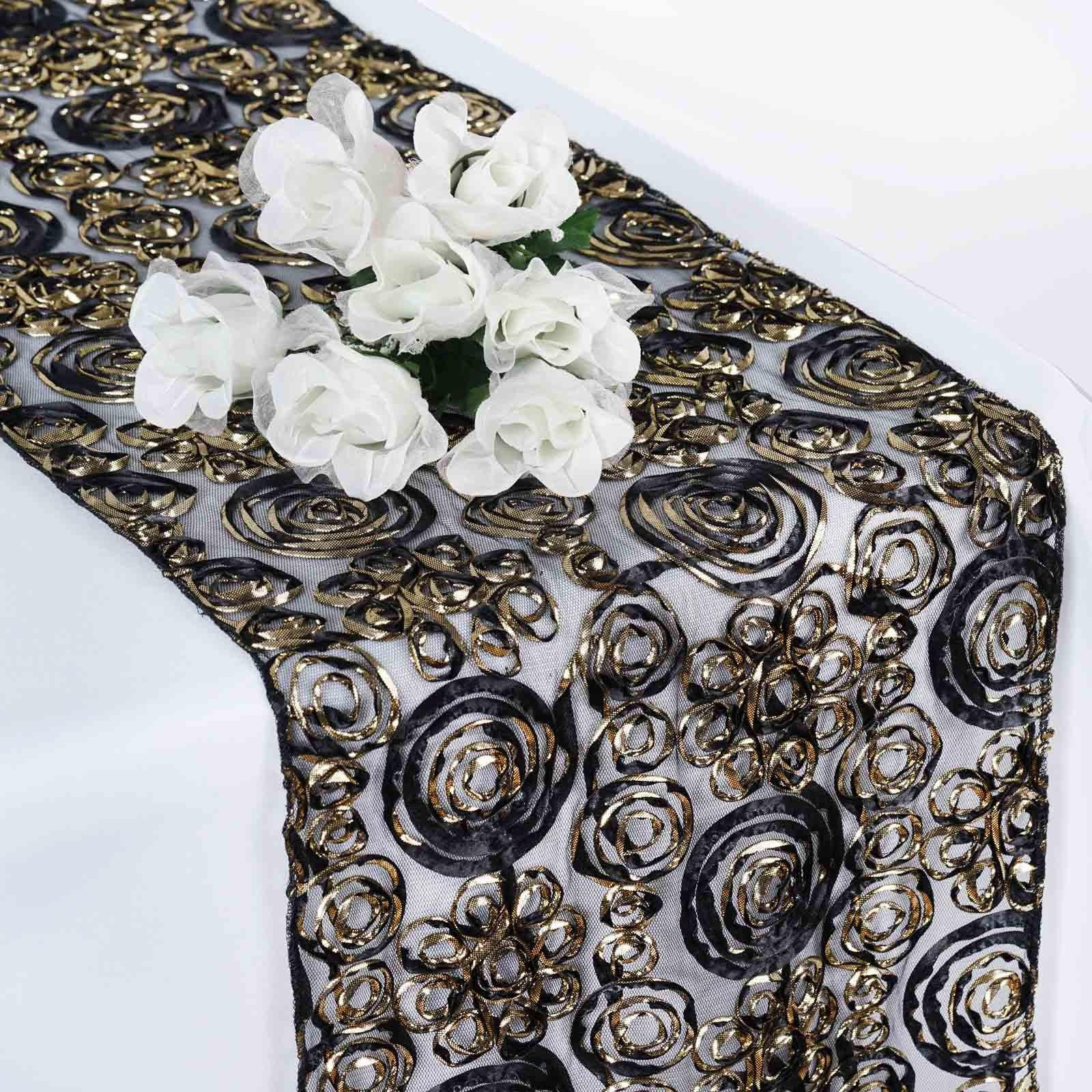 Black Gold Couture Tulle Satin Table Runner Tableclothsfactory