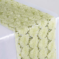 Wholesale Tea Green Tulle Table Runner With Sequin Design Party Wedding Tabletop Decoration