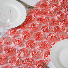 Wholesale Rose Quartz Lace Table Runner With Rosette Flowers  Wedding Party Events