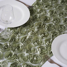 Wholesale Reseda Lace Table Runner With Rosette Flowers  Wedding Party Events