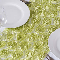 Wholesale Tea Green Lace Table Runner With Rosette Flowers  Wedding Party Events
