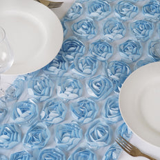 Wholesale Serenity Blue Lace Table Runner With Rosette Flowers  Wedding Party Events