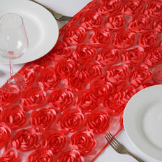 Wholesale Coral Lace Table Runner With Rosette Flowers  Wedding Party Events