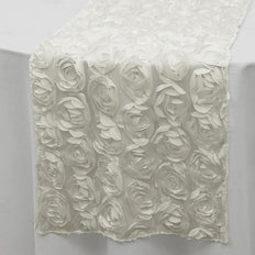 "Wholesale White Lace Table Runner With Rosette Flowers For Wedding Party Table Decoration - 12""x108"""