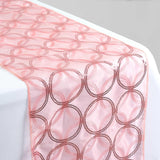 Rose Quartz Sequin Circle Designs Table Runners - Table Top Wedding Catering Party Decorations - 108x12""