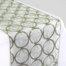 Reseda Sequin Circle Designs Table Runners - Table Top Wedding Catering Party Decorations - 108x12""