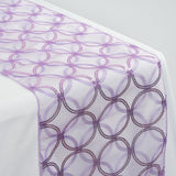 Lavender Sequin Circle Designs Table Runners - Table Top Wedding Catering Party Decorations - 108x12""