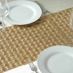 Champagne Premium Upscale Sequin Runner - Table Top Wedding Catering Party Decorations - 108x14""