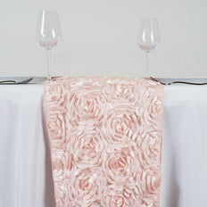 "14""x108"" Wholesale Flower Rosette 3D Satin Table Runner For Wedding Party Event Table Decoration - Blush"