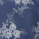 Botanical Bloom Embroidered Table Runner - Silver / White