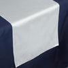 "14""x108"" Ivory Lily Flower Embossed Satin Table Runner"