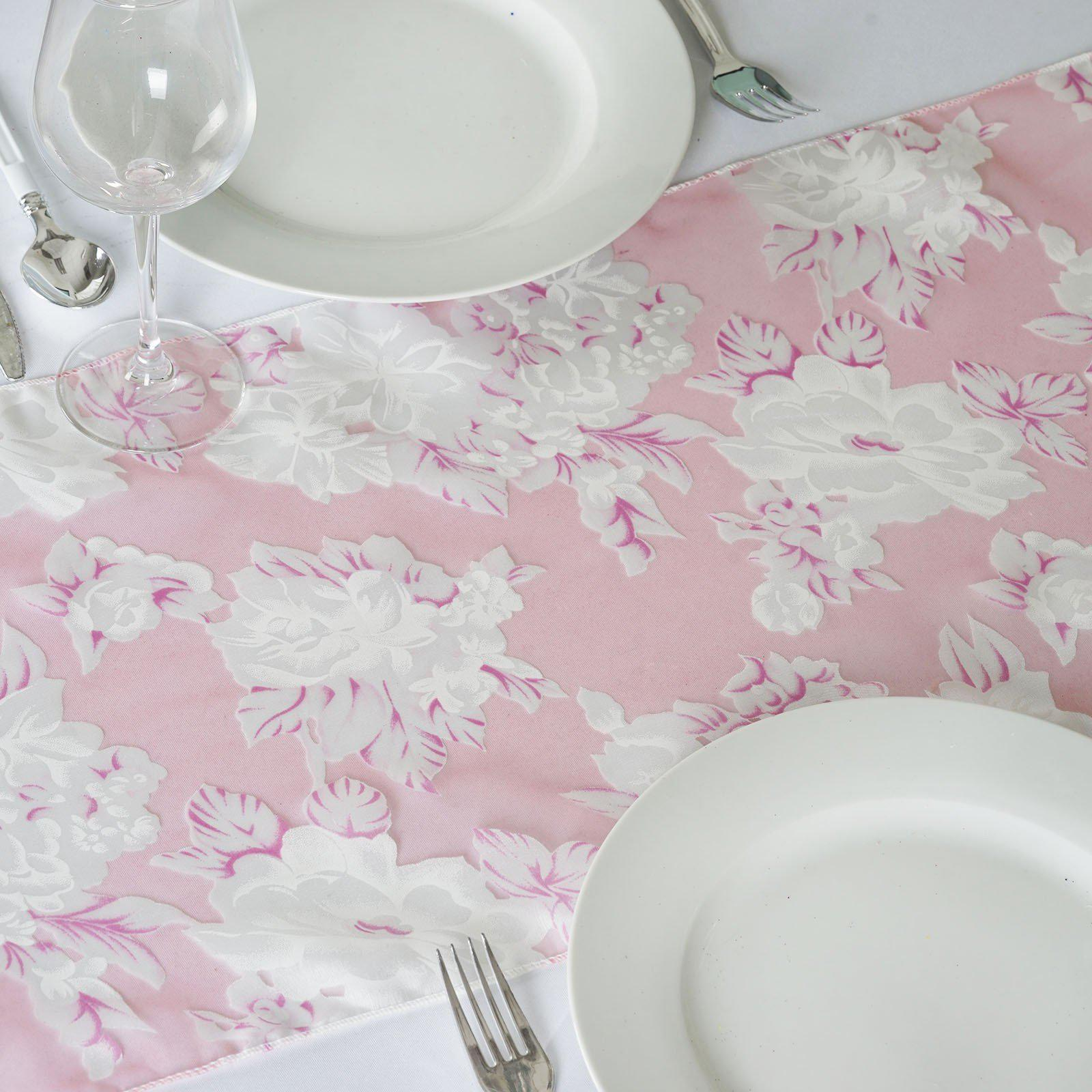 Pink Sheer Organza Table Runner With Floral Design Tablecloths