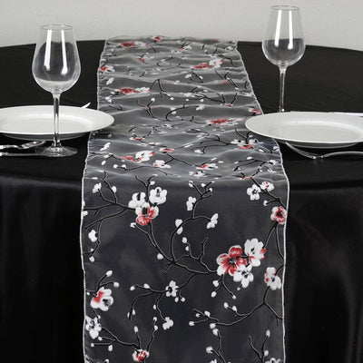White Sheer Organza Runner With Cherry Blossom Design For Table Top Wedding Catering Party Decorations