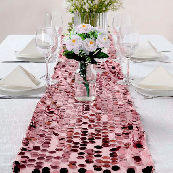 "13""x108"" Big Sequin Runners Pink Payette Table Runners"